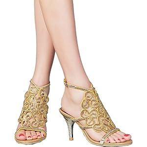 Abby L019 Womens Unique Wedding Bride Bridesmaid Party Show Dress Cone Heel  Micro-Fiber Sandals 573533976227