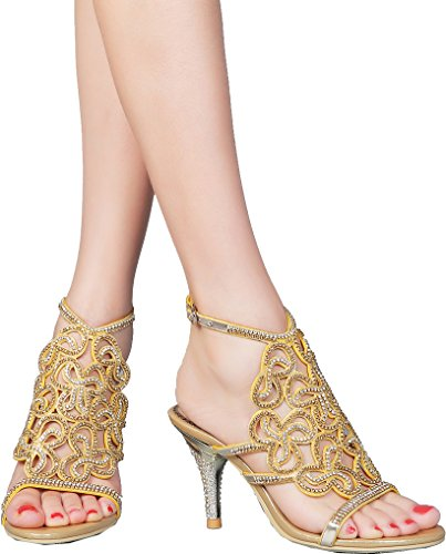 Abby L019 Womens Unique Wedding Bride Bridesmaid Party Show Dress Cone Heel Micro-fiber Sandals Gold 9 M US