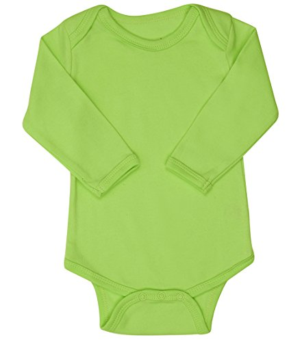 Elowel Long Sleeve Baby Bodysuit 100% Cotton Light Green(Size18-24M) Yellow Long Sleeve Onesie