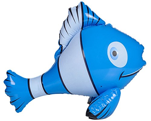 Rhode Island Novelty Inflatable Blue and White Tropical Clown Fish Pool Swimming Toy Decoration