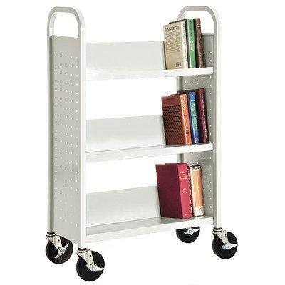 Sandusky Lee SL327-22 Single Sided Sloped Shelf Welded Bookcase, 14'' Length, 28'' Width, 46'' Height, 3 Shelves, White by Sandusky