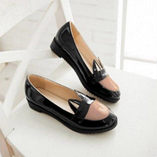 Chfso Womens Oreilles Mignonnes Creux Antidérapants Flats Slip Sur Les Chaussures De Chaussures Noir