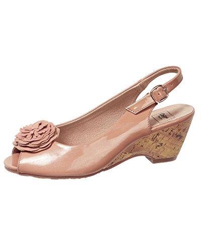 Cotton Traders Womens Ladies Sandals Flower Trim Cork Sling-Back Peep Toe Wedge Shoes Nude r9C9BI