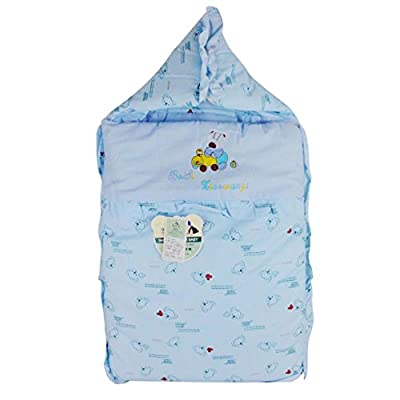 Happy Cherry Thick Sloth Printing Baby Wrap Infant Quilt Hooded Swaddled (Blue) - Blue