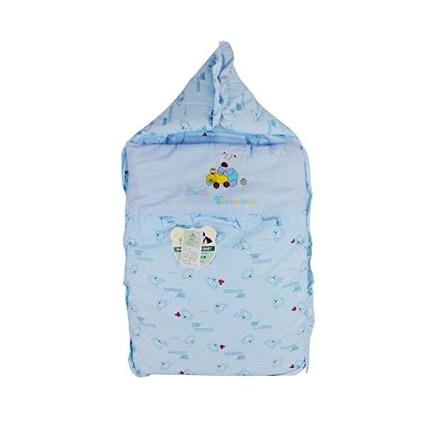 Happy Cherry Thick Sloth Printing Baby Wrap Infant Quilt Hooded Swaddled (Blue) -