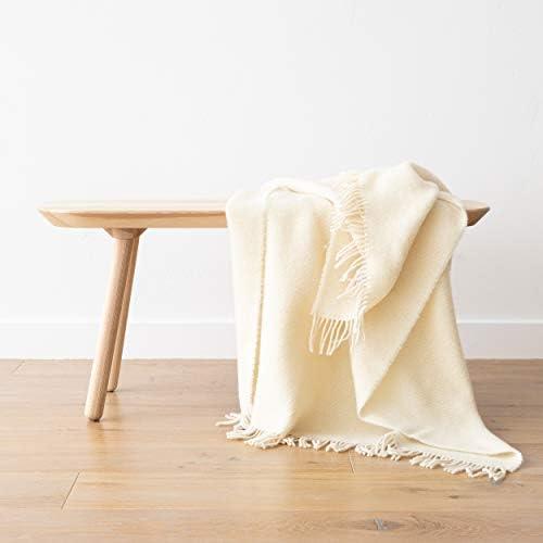 WoolMe Plaid Laine Paula Ivoire, 130 x 200 cm, Fabriqué en Lituanie avec des Franges