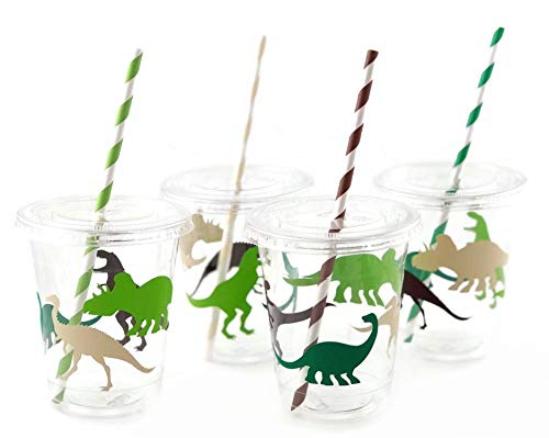 Dinosaur Cups - Set of 12 Dino Birthday Party Supplies for Kids -