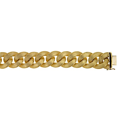 - 18k Yellow Gold 20.7mm Satin Finish Open Link Chain Bracelet for Men - 7.5