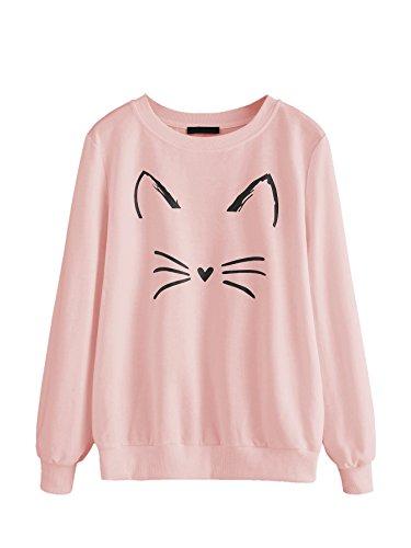 Romwe Women's Cat Print Sweatshirt Long Sleeve Loose Pullover Shirt Pink L
