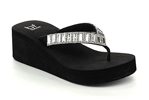 B&F Women's Bling-Bling Rhinestone Flip Flop Thong Sandals (8, Glittering Rhinestone)