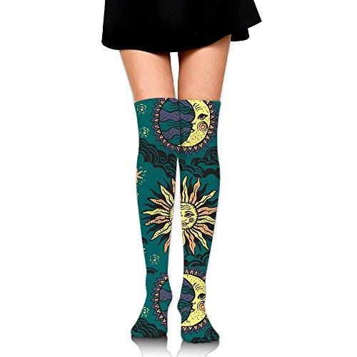 Cartoon Stars Moon Sun God Women's Fancy Design Multi Colorful Patterned Knee High Socks (God Design Sun)