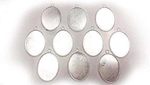 【HARU雑貨】シルバー ミール皿 10枚セット/大きめ 楕円 オーバル 銀 s44/レジン アクセサリーパーツ