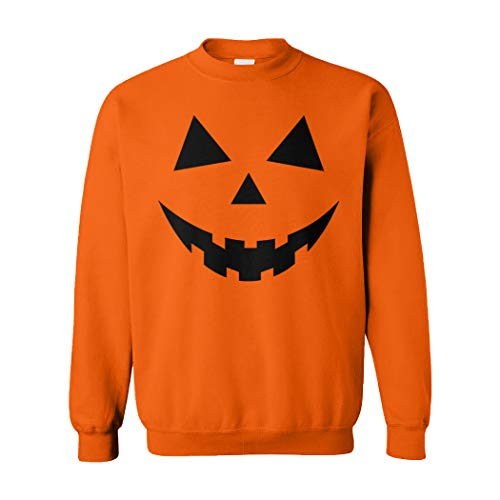 Pumpkin Face - Halloween Costume Unisex Crewneck Sweatshirt (Orange, -
