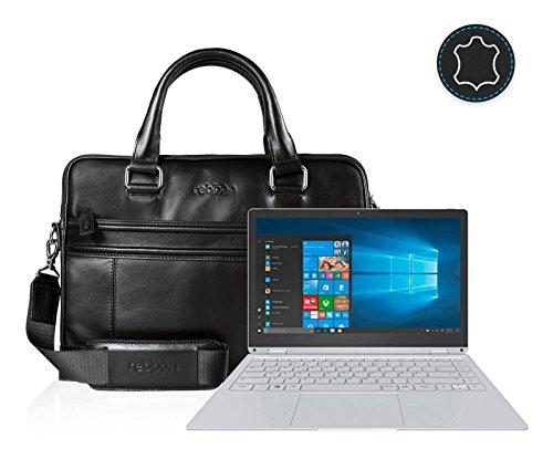 reboon Echt-Leder Laptop-Tasche in Schwarz Leder für TREKSTOR PRIMEBOOK C13 13 3 | 13 Zoll | Notebooktasche Umhängetasche | Damen/Herren - Unisex | Premium Qualität Schwarz Leder Y0may