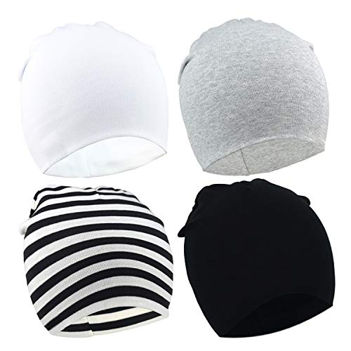 (DRESHOW BQUBO 4 Pieces Baby Beanie Newborn Toddler Soft Cute Knit Hat Hospital Hats for Baby Boys Infant Cap Beanies)