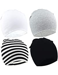 183259fd6ab BQUBO 4 Pieces Baby Beanie Newborn Toddler Soft Cute Knit Hat Hospital Hats  for Baby Boys