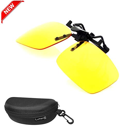 iLumen8 Best Shooting Glasses Night Vision Driving Yellow UV Safety Eye Protection Clip-On Fit-Over Prescription Glasses Riding Cycling