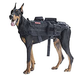 OneTigris Tactical Dog Molle Vest Harness Training Dog Vest with Detachable Pouches (Black, Medium)