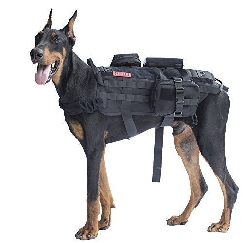 OneTigris Tactical Dog Molle Vest Harness Training Dog Vest with Detachable Pouches (Black, Large)