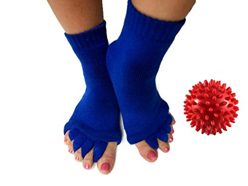 Toe Separator Yoga Gym Sports Massage Socks for Foot Alignment, Great for Sore Feet and Diabetics by TRiiM Fitness with FREE Exercise guide! (Ball + Blue)
