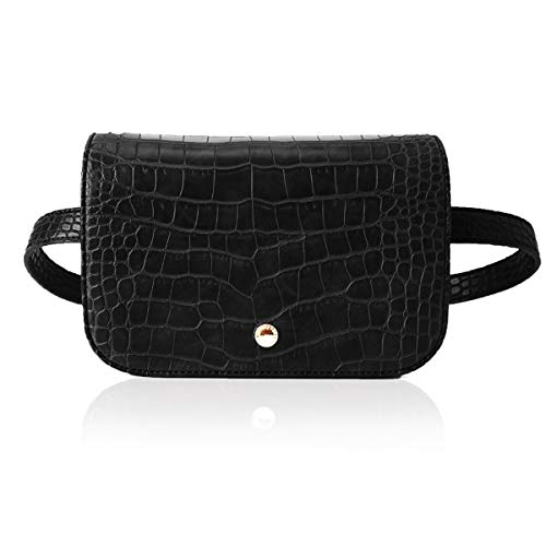 The Lovely Tote Co. Women's 2-Ways Fanny Pack Cross-body Bag Mini Waist Bag Leather Felt Cell Phone Pouch,One,Black ()