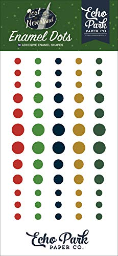 Echo Park Paper Company LIN179028 Lost in Neverland Enamel dots, Navy, Green, red, Gold