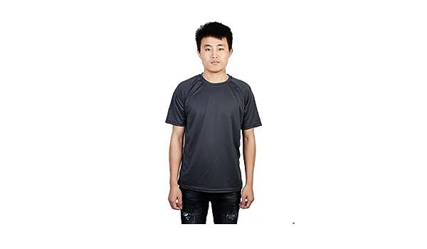 Amazon.com : eDealMax Hombres Maratón Ejercicio de reproducción, Use Athletic, O-Cuello de Manga Corta T-Top, de secado rápido, Deportes Camiseta gris M ...