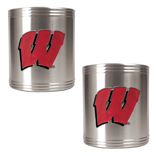 NCAA Wisconsin Badgers Two Piece Stainless Steel Can Holder - Candy Glass Jar Nfl