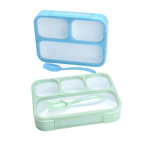 Bento Lunch Boxes with Spoon for Kids and Adults, BPA Free Leakproof Food Storage Containers 2 Pack, 3 and 4 Compartments Leak Proof Lunchbox Set   Work, Home, School   Girls or Boys