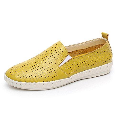 Faloaon Léger Mode Plat En Cuir Slip Sur Les Mocassins De Chaussures Pour Les Femmes Jaune