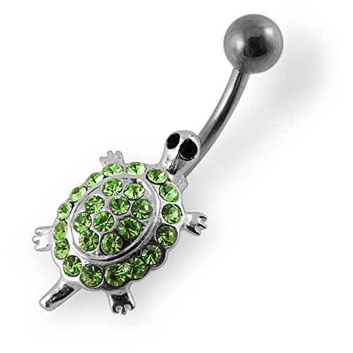 Fancy Turtle Charm (Light Green Gemstone Fancy Colorful Multi Crystal Turtle 925 Sterling Silver with Stainless Steel Belly Button Navel Rings)