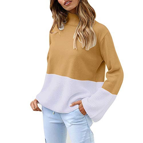 Pull Sweater Chandail Femme Hiver Chic, Koly Manteau en Tricot Col roul