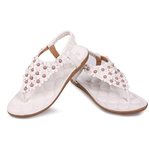 Sandals été Shoes white Women doux sandales perlées Bohemia Herringbone OVERMAL Beach Clip Toe 8TwUAA