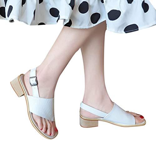 Bianco Con E Fibbia Centrale Moda Spessi Bianca Scarpe Summer Sandali Punta Sunnywill Toe Casual Giallo Nero Mid Donna BWnZxtS