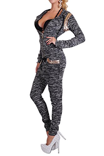 VamJump Women Zipper Long Sleeve Hoodies 2 Piece Sweatsuit Sets S Black