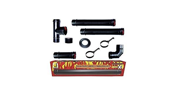 CHIMENEA estufa de pellets tubos kit de 80 mm de tubo de acero esmaltado en negro resistente 600° CE fabricado en Italia porcellanata de combustiòn: ...