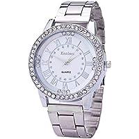 Hot Sale! Charberry Mens Diamond Gold Watch Crystal Rhinestone Stainless Steel Analog Quartz Wrist Watch (Silver)
