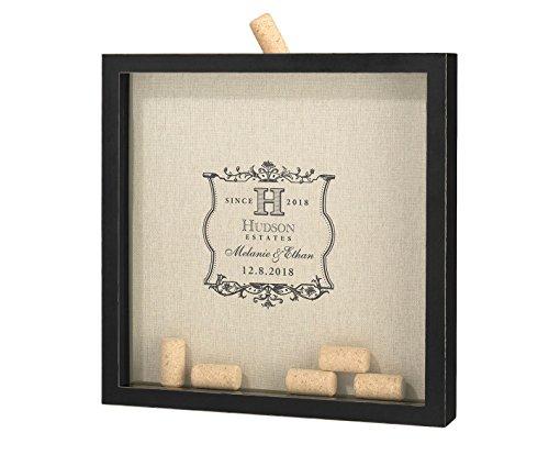 - Personalized Wine Cork Holder Black Frame Wedding Guest Book Alternative