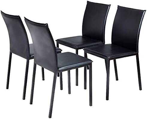 Sensational Amazon Com Lucky T Set Of 4 Pu Leather Armless Dining Creativecarmelina Interior Chair Design Creativecarmelinacom