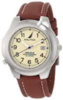 Nautica Men's N07501 Leather Round Analog Indiglo Watch by Nautica