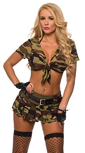 Sexy Military Commando 2 Piece Boot Camp Babe Costume Cami Set (Small/Medium, Camouflage)