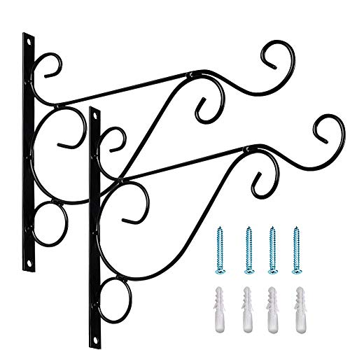 Sunmall Garden & Home Plants Hanging Bracket Hook, Sturdy Metal Wall Mount Planter Hangers Bracket for Hanging Bird Feeder,Flower Pots,Lanterns,Planters,Wind Chimes Come with Screws (2 Pack, Black)