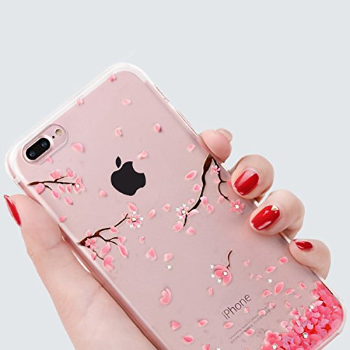 Funda para iPhone 7 plus, Ukayfe Suave Carcasa Caso Parachoques Diseño pintado Patrón para iPhone 7 plus,Funda Case Lujo Premium Bling Caja PC Dura Ultra Fina Cubierta Matt Glitter Protectora Caja Shi Rosa cereza
