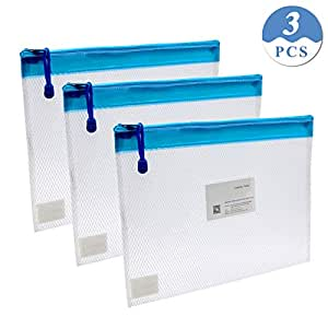 Zipper File Bags,izBuy 3Pcs Clip-on Zippered Waterproof PP Storage Bags with Small Label Pocket Organizer for Term Papers, Document, Newspapers, Business Receipts, Magazines Clip And More! (3pcs)