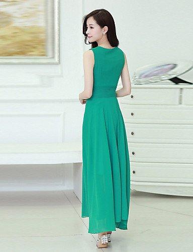 PU&PU Robe Aux femmes Vintage / Décontracté Col en V Maxi Mousseline de soie , green-s , green-s