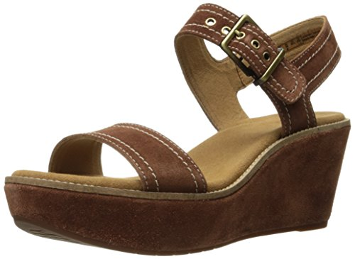 Clarks Women's Aisley Orchid Wedge Sandal Dark Tan Suede xFhuf3f