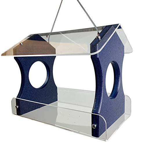 JC's Wildlife Blue Recycled Poly Lumber Hanging Bird Feeder (Blue)