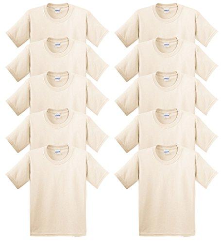 Gildan Heavy Cotton 100% Cotton T-Shirt, Natural, XL (Pack of 10)