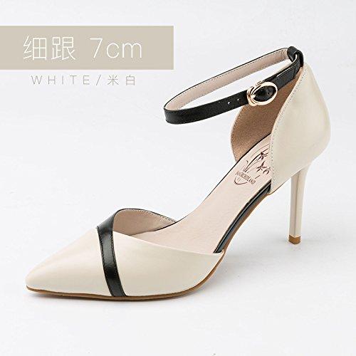 Zapatos Zapatos Tacones Heel Jqdyl Shoes Hebilla Nuevos Verano Heel Estudiantes 7cm Femeninas White Planos Sandalias 4wwqX7