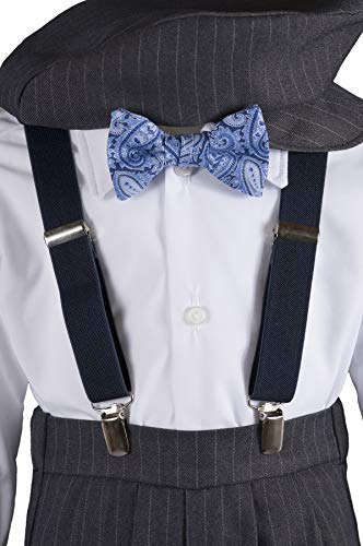 Boys Grey Knicker Set with Blue Paisley Bow Tie in Baby, Toddler & Boys Sizes (5 Boys)